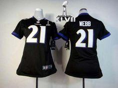 NIKE RAVENS #21 LARDARIUS WEBB BLACK ALTERNATE SUPER BOWL XLVII WOMEN'S STITCHED NFL ELITE JERSEY