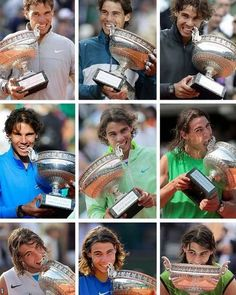 Rafael Nadal's nine trophies...can he win a tenth on his fave surface?...stay tuned...