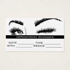 Microblading Brows & Lashes Salon Appointment Card - diy cyo customize create your own personalize Tweezing Eyebrows, Threading Eyebrows, Brow Studio, Esthetician Room, Lashes Logo, Brow Wax, Beauty Salon Decor, My Makeup Collection, Perfect Eyes