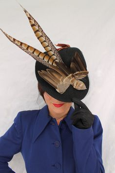 1930s 1940s vintage-style faux bird tilt hat with veiling