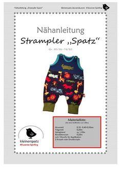 """Schnittmuster Nähanleitung Strampler """"Spatz"""" von kleinerspatz auf DaWanda.com"""