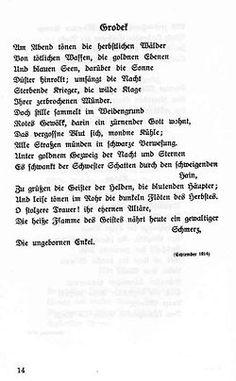 Georg Trakl: Grodek. September 1914. - Gehört zur Pinnwand: Erster Weltkrieg (1914-1918) Georg Trakl, Salzburg Austria, World War I, First World, September, Reading, Literatura, World War One, Poetry
