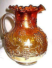 "Carnival Glass - Dugan - Floral & Grape - Marigold Pitcher - 9 1/2"""