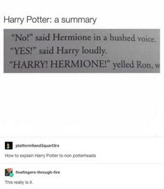 Harry Potter in a nutshell. No but seriously this is it Harry Potter Jokes, Harry Potter Fandom, Harry Potter Tumblr Funny, Hogwarts Tumblr, Scorpius And Rose, No Muggles, Yer A Wizard Harry, Harry Potter Universal, Mischief Managed
