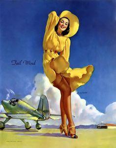 Tail Wind by Gil Elvgren c1942.