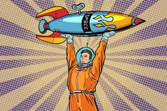 Buy Astronaut Holding a Space Rocket by studiostoks on GraphicRiver. Astronaut holding a space rocket. Boy Cartoon Characters, Desenho Pop Art, Space Rocket, Rocket Pop, Initial Capital, Cloud Mining, Flyer Design Templates, Card Templates, Photoshop