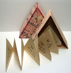 """""""All Things Are Connected,"""" Origami Triangle Book Up Book, Book Art, Book Crafts, Paper Crafts, Album Journal, Libros Pop-up, Accordion Book, Origami And Kirigami, Little Presents"""