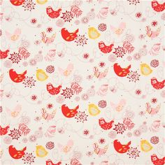 white Alexander Henry animal fabric bird flowers red 2