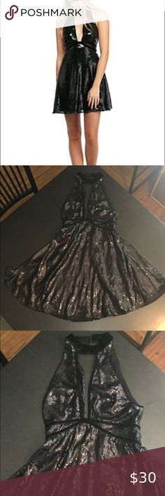 Free People Black Sequin Mini Dress Excellent condition - worn once  Size 0 Free People Dresses Mini