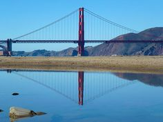 A mirrored effect of the Golden Gate bridge using glass like water. Taken November 2014 about an hour walk from San Francisco city. San Francisco City, Print Pictures, Golden Gate Bridge, Reflection, November, California, Canvas Prints, Mirror, Wall Art