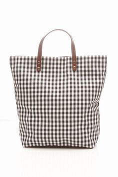 Cabas | big gingham tote bag with leather handles!