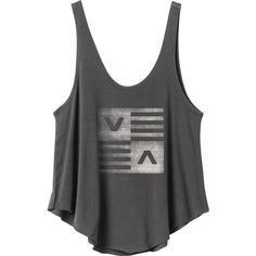 RVCA Women's  Check Stripe Tank Top ($24) ❤ liked on Polyvore featuring tops, black, black loose top, rvca tank top, rvca tank, jersey tank et loose tank tops
