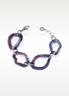 Antica Murrina Broadway - Iridescent Murano Glass Link Chain Bracelet | FORZIERI