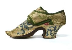 18th century silk brocade shoes with pattens c. 1720-1740 I www.SarahElizabethGallery.com