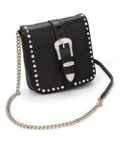 Love this Black Buckle Leather Crossbody Bag on #zulily! #zulilyfinds $21.99