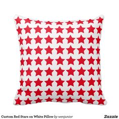 Custom Red Stars on White Pillow