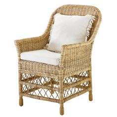 Specifications Material(s): Rattan slimit Finish(es)/colour(s): Natural slimit rattan Fabric Natural cotton Fabric composition: cotton Fire retardant: Non Fire retardant Rattan Dining Chairs, Table And Chairs, Outdoor Chairs, Outdoor Furniture, Outdoor Decor, Most Beautiful Gardens, Elegant Dining, Furniture Collection, Wicker