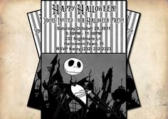 nightmare before christmas halloween party invitation mickey halloween party christmas birthday party halloween party