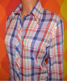 vintage 70's blouse rainbow PLAID western preppy button down butterfly collar shirt tailored women Medium Large red white. $23.00, via Etsy.