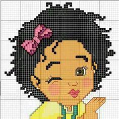 Afro baby x-stitch C2c Crochet, Crochet Diagram, Tapestry Crochet, Crochet Chart, Cross Stitch Charts, Cross Stitch Designs, Cross Stitch Embroidery, Cross Stitch Patterns, Pixel Art