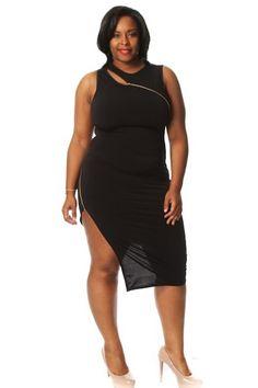 Plus Size Slit Zipper Midi Dress