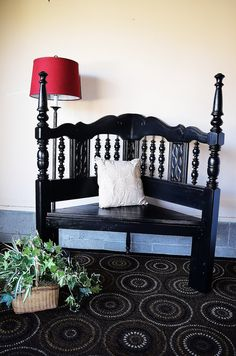 Repurposed Bench from a bed frame; beautfiully done; cut bed headboard in half to create a corner bench; painted; original piece by: http://www.etsy.com/listing/114556925/repurposed-benchthe-midnight?ref=sr_gallery_44&ga_search_query=benches&ga_view_type=gallery&ga_ship_to=US&ga_explicit_scope=1&ga_page=2&ga_search_type=handmade Upcycle, Recycle, Salvage, diy, thrift, flea, repurpose, refashion! For vintage ideas and goods shop at Estate ReSale & ReDesign, Bonita Springs, FL