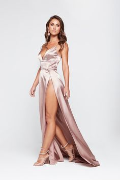 8b860f7690 A amp N Tiffany - Mauve Satin Gown with V Neck and Two Side Slits Silky.  A N Luxe Label