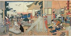 Utagawa Sadahide, 1807-1873, title 'Sanka Shokofu no zu' (weaving women at silk making cottage); triptych -- right sheet signed by Gyokuransai Sadahide ga, the center sheet and left are signed the same, each section has publisher's seal and the censor's seal  (aratame=examined); this depicts carious stages of sericulture (raising silk worms for raw silk) in the Edo Period of Japan.