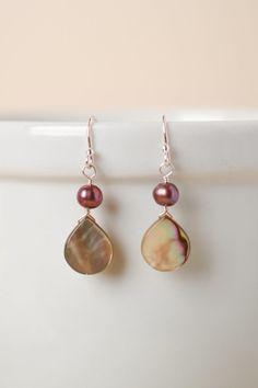 Abalone Simple Dangle Earrings