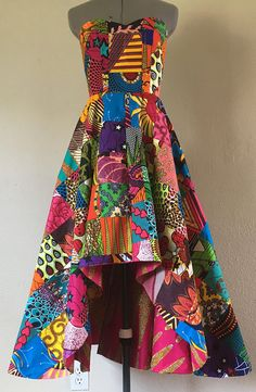 Dutch Wax Patchwork High Low Dress Sweetheart Bodice With Pockets and Tie Belt Pick Your Print Lining African Attire, African Wear, African Fashion, African Print Dresses, African Dress, Corsage, Cool Outfits, Fashion Outfits, Fashion Ideas