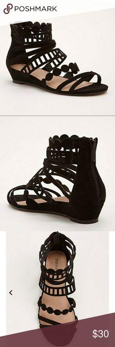 New Black Laser Cut Gladiator Sandals 10W Brand new black sandals.  Brand: torrid Size: 10W torrid Shoes