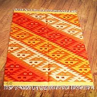 Wool rug, 'Fire Scorpion' (4x5.5) - Wool rug (4x5.5)