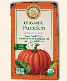 Organic Pumpkin Tetrapak  Introducing the new look for Farmer's Market Organic Pumpkin, the tetrapak is easy to open with the same rich, smooth, delicious flavor. It's ready to use in everything from baked delights to entrees. The tetrapak is BPA-Free.