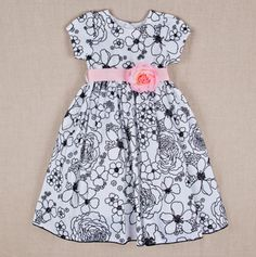 Toddler Embroidered Dress with Ribbon Tie Black/White Cute Baby Dresses, Little Dresses, Pretty Dresses, Girls Dresses, Toddler Dress, Toddler Outfits, Kids Outfits, Little Girl Fashion, Kids Fashion