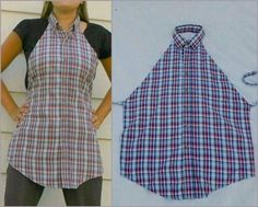 To transform your old shirt into a fancy looking apron, it is necessary to use the front part of the shirt. You will need: - scissors; - needle and