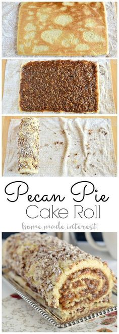 Pecan Pie Cake Roll | This pecan pie roll is Pecan pie filling rolled into a light sponge cake. If you love Thanksgiving pecan pie then this Thanksgiving dessert recipe is for you! Make this pecan pie cake roll for Thanksgiving dessert and impress your guests!