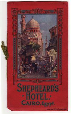 illustration UK : couverture de livre, Shepheards Hotel, Le Caire, Egypte, 1910.