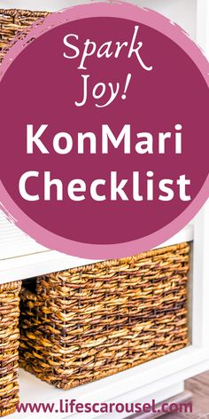 "This KonMari Checklist will help you ""Spark Joy"" while tidying up! Learn the steps in the Marie Kondo Tidying Up Method and finally declutter your home!"