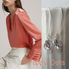 Sterling Silver Cubic Zirconia Earrings#zirconia #updress #updressed#soffisticated #poppydotsdesign Cubic Zirconia Earrings, Dots Design, Poppy, Jewellery, Sterling Silver, Long Sleeve, Sleeves, Shopping, Women