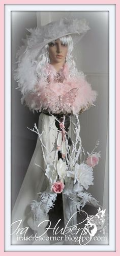 Winter Snow Lady in Pink - dressed up doll's head