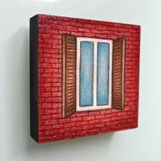 Small red brick NYC window with shutters by LauraKaardalArtist #urban #city #newyorkcity #windowsill #architecture #originalart #art #drawing #handmade #wood #painting #readytohang #decor #homedecor #maroon #tuscanred