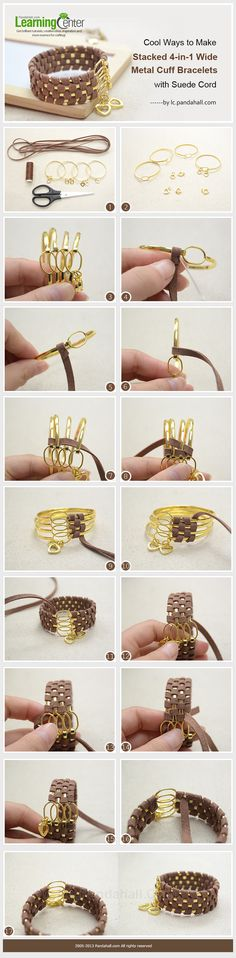 Cool Ways to Make Stacked 4-in-1 Wide Metal Cuff Bracelets with Suede Cord