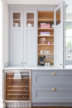 Frillen in grey and brass - Sola Kitchens Home Decor Kitchen, New Kitchen, Home Kitchens, Grey Kitchens, Home Renovation, Home Remodeling, Kitchen Cabinetry, Kitchen Counter Cabinet, Larder Cupboard