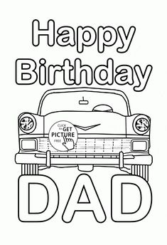 Funny Card Happy Birthday Dad coloring page for kids