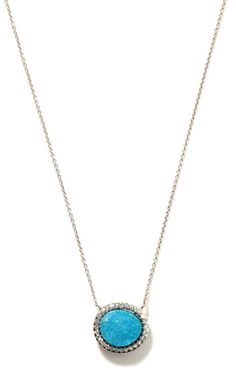 Small Chrysocolla Druze And Diamond Pendant In 18K White Gold by Kimberly McDonald