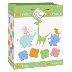 Zoo Animals Baby Shower Gift Bag, Large, Green and White *** Check this awesome product by going to the link at the image.