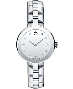 Movado Women's Swiss Sapphire Diamond Accent Stainless Steel Bracelet Watch 28mm 0606814