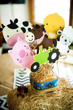 Down on the Farm/All About Tractors Birthday Party Ideas Party Animals, Farm Animal Party, Farm Animal Birthday, Tractor Birthday, Cowboy Birthday, Farm Birthday, 2nd Birthday Parties, Farm Themed Party, Barnyard Party