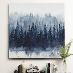 Wayfair 'Indigo Forest' Oil Painting Print on Wrapped Canvas