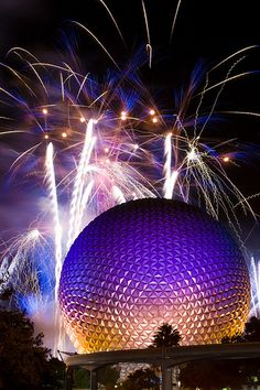 IllumiNations over Spaceship Earth at EPCOT Center, during the firework show